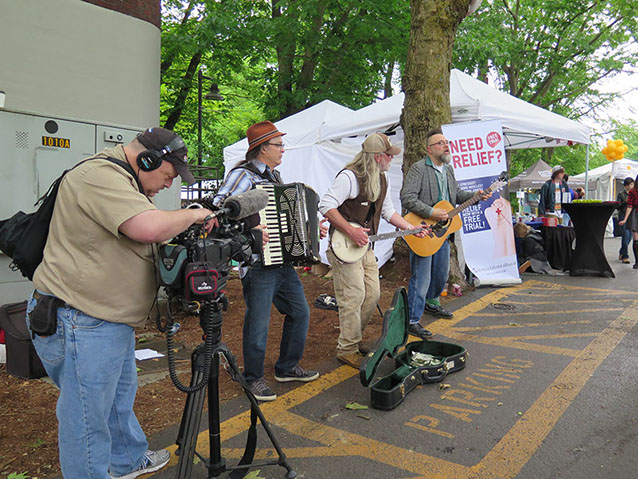 South Sound Tug & Barge live at the Seattle Folklife Festival May 2016 (i. to r. Charley Rowan, Steve Duda, Scott M.X. Turner)