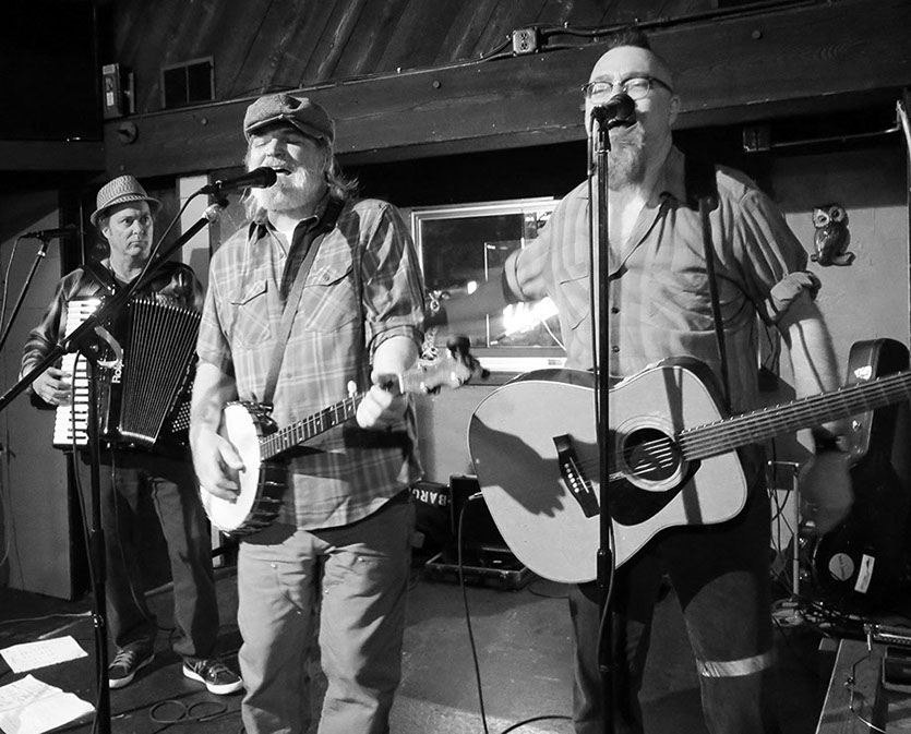 South Sound Tug & Barge live at the Parliament Tavern, March 2016  (i. to r. Charley Rowan, Steve Duda, Scott M.X. Turner)